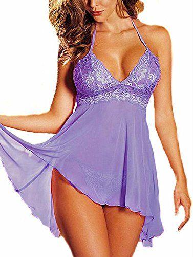 Fashion Women Sleepwear Plus Size Mini Dress Lingerie Set Lace Nightwear