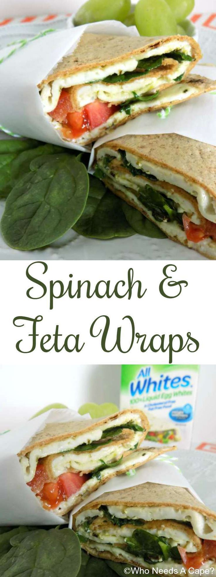 Make Spinach & Feta Wraps, a light and lovely lunch or dinner using AllWhites Egg White product. Loaded with delicious flavors yet low-calorie. #ad #AllWhitesEggWhites
