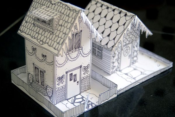 Printable Holiday Crafts: Paper houses by Twelve22 (smaller house pattern free)