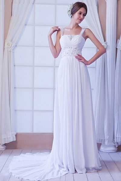 Chiffon Elegant Sweetheart Bridal Gowns wr0124 - http://www.weddingrobe.co.uk/chiffon-elegant-sweetheart-bridal-gowns-wr0124.html - NECKLINE: Sweetheart. FABRIC: Chiffon. SLEEVE: Sleeveless. COLOR: White. SILHOUETTE: A-Line. - 134.59