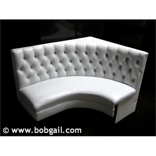 Grey Sofa Bed Couch White Tufted Vinyl Curved Booths | Booth Seating