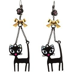 Betsey Johnson - Betsey Vampire Black Cat Earrings (Black) - Jewelry http://nyfashionstar.com/best-sellers/black-cat-chandelier-earrings-betsey-johnson-earrings.html