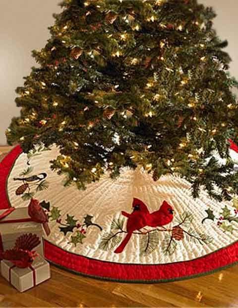 Holiday Songbirds Christmas Tree Skirt