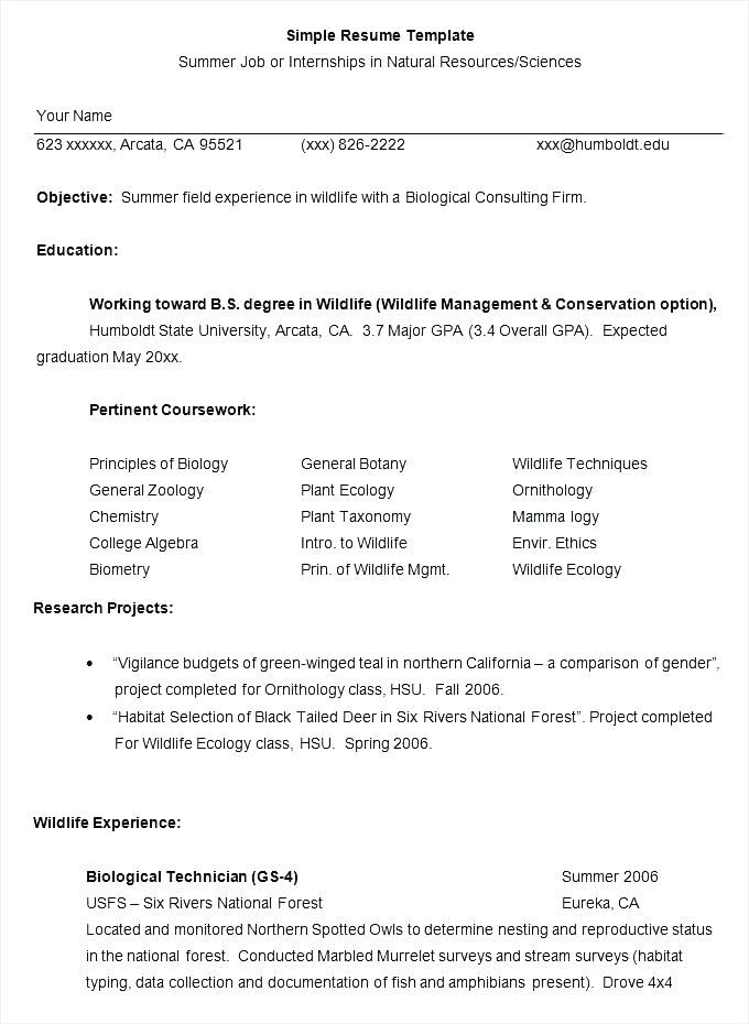 Resume Format For Msc Zoology Resume Format Job Resume Template Simple Resume Format Job Resume