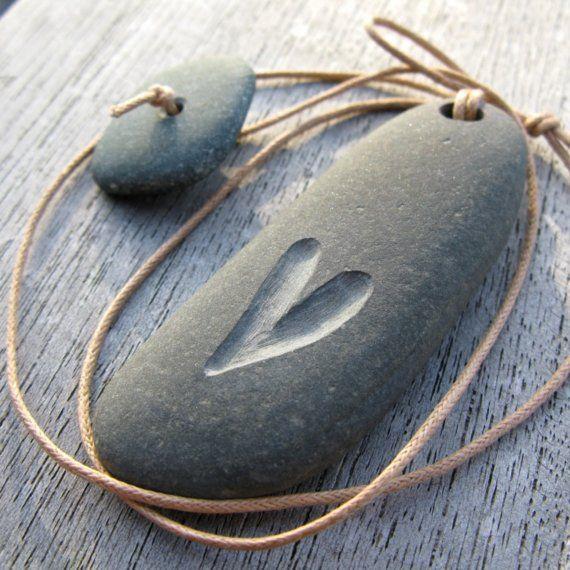Heart Pebble necklac