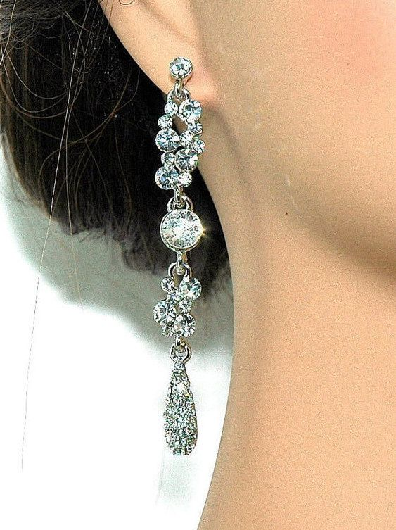 SALE 15% OFF Clear Dangle Earrings - Bridal Rhinestone Earrings - Bridal Party - Bridesmaids Gift on Luulla