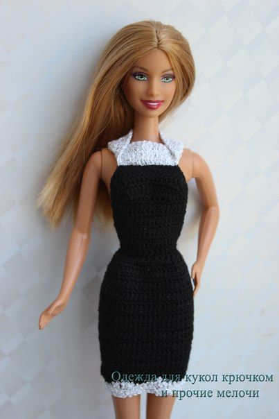 Free pattern of black dress for Barbie