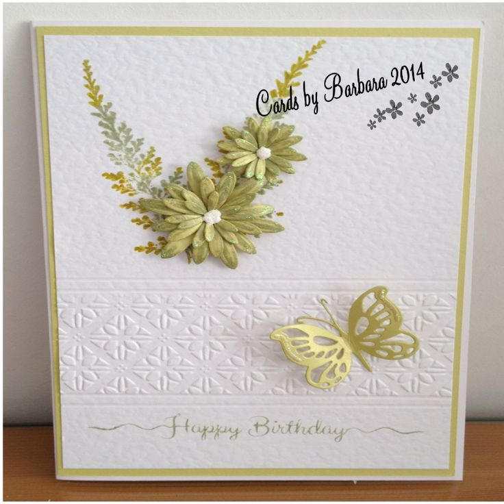 Made using Leaves from Lush Leaves Collection Embossing folder and flowers by Sue Wilson and butterfly die from Couture Creations