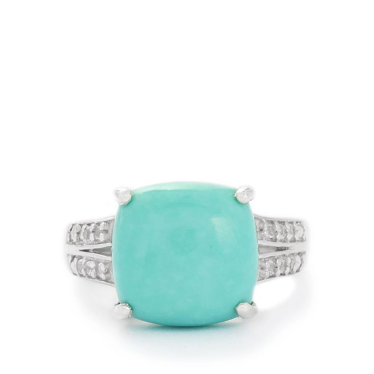 An engaging Ring from the Annabella collection, made of Sterling Silver featuring 7.65cts of amazing Sleeping Beauty Turquoise and White Topaz.