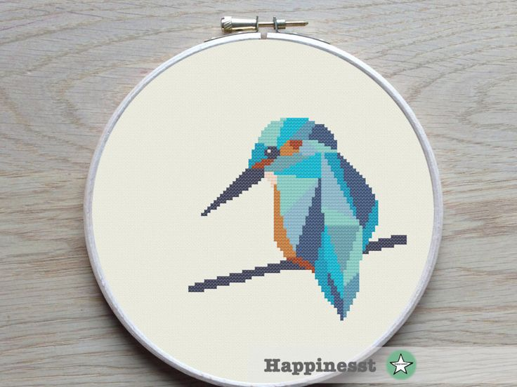 cross stitch pattern kingfisher, geometric kingfisher, modern cross stitch, nature, bird, PDF,  ** instant download** by Happinesst on Etsy https://www.etsy.com/uk/listing/288793791/cross-stitch-pattern-kingfisher
