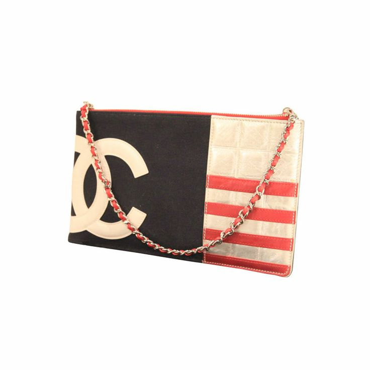 Chanel - Chanel 2003 Navy/Red/Silver Canvas Leather Flag CC Pochette Bag    Perfect for the 4th of July parade!    #1stDibs #summerstyle