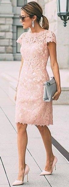 #summer #ultimate #classy #outfitideas |  Blush Lace Midi Dress
