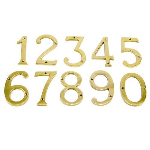 """6"""" Polished Brass Traditional House Numbers"""
