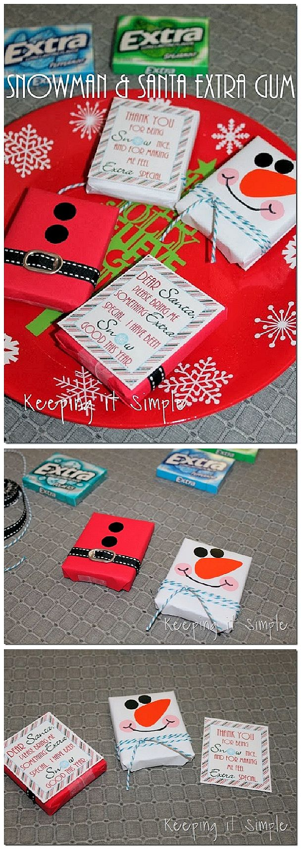 Adorable Santa and Snowman FREE Printables for Extra Gum - easy and sweet Christmas Gift Idea for Teachers, Neighbors and Friends! | Keeping it Simple Crafts