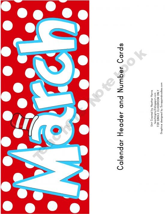 FREE!  Celebrate Dr. Seuss in March with these calendars.  Set includes:  1.March Calendar Header  2. Numbered Calendar Cards  3. Page calendar for you to personalize how you wish. Not  numbered so that you can use it year after year.