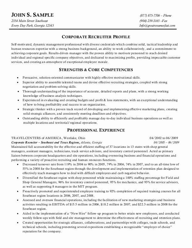 Entry Level Recruiter Resume Awesome Resume Format Hr Recruiter Resume Format Download