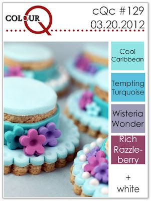 cQc #129 - cool caribbean, tempting turquoise, wisteria wonder, rich razzleberry
