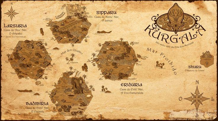 Taí o mapa de Kurgala, o mundo maneiro criado pelo Affonso Solano no livro O Espadachim de Carvão.