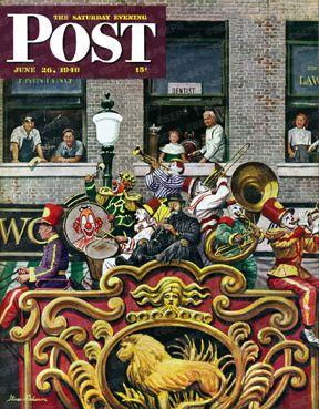 Clown Band by Stevan Dohanos, June 26, 1948, The Saturday Evening Post.