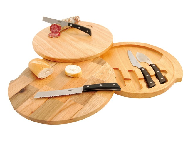 Tagliere a ripiani con 4 coltelli (formaggio, grana, pane e salame).
