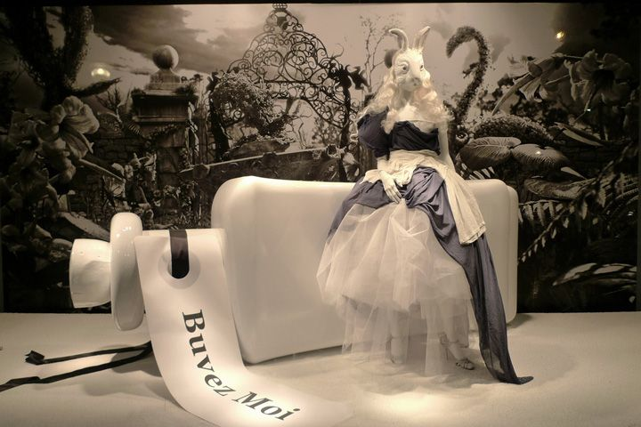 Alice In Wonderland at Printemps visual merchandising