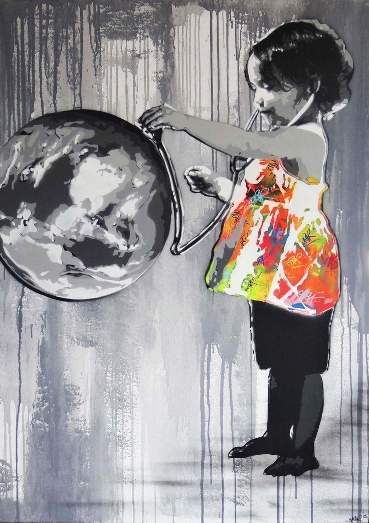 """Kurar - """"Save my world""""... An Urban Art District favorite! www.UrbanArtDistrict.com www.fb.com/urbanartdistrict"""