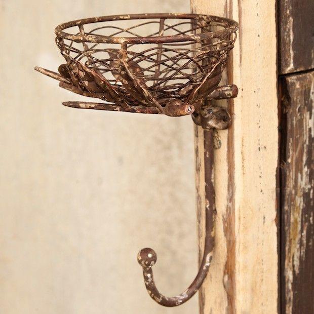 Metal Nest With Wall Hook | Decorative Wall Hook | Decorative Coat Hook | Nature Inspired Decor | Wall Coat Hooks