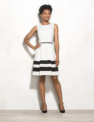 Colorblock Stripe Fit-and-Flare Dress