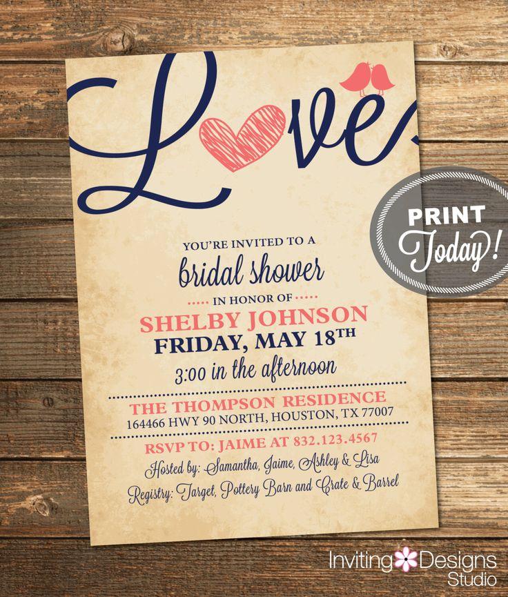 Bridal Shower Invitation, Love, Birds, Heart, Navy Blue, Coral, Rustic, Printable File (Custom Order, INSTANT PROOF) by InvitingDesignStudio on Etsy https://www.etsy.com/listing/179218476/bridal-shower-invitation-love-birds