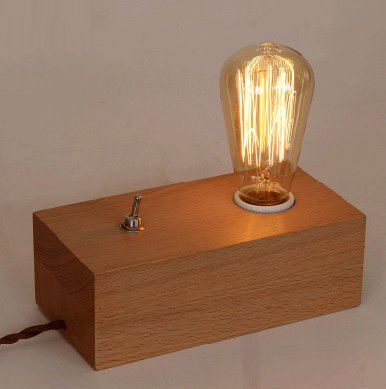 Acheter vintage r tro en bois lampe de - Lampe de bureau bois ...