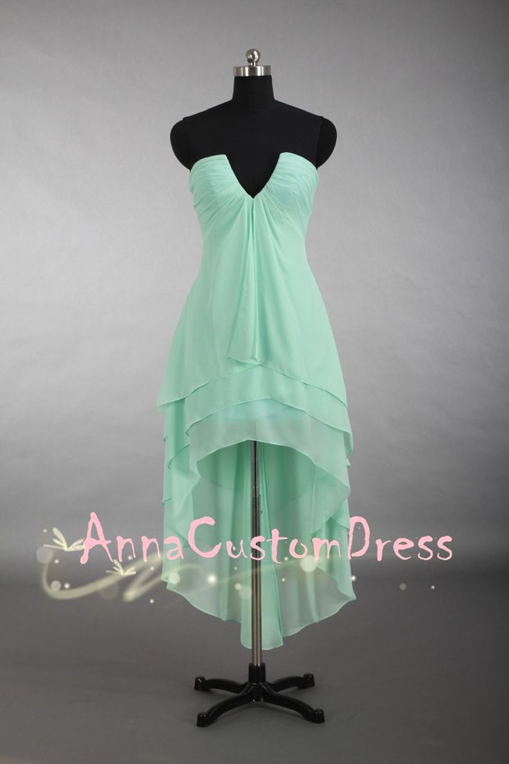 V-neck Asymmetrical Long Mint Chiffon Bridesmaid Dress