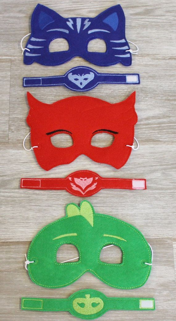 READY to SHIP PJ Masks Inspired Masks Wristband Set Disney Jr. Inspired Masks Bracelet Party Favor Kids Bracelet