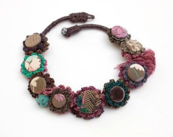 Statement necklace crochet with fabric buttons от rRradionica