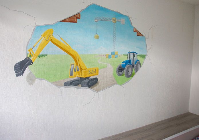 Kinderkamer wanddecoratie voor een stoere jongen. Muurschildering met graafmachine, tractor en hijskraan. Ontworpen en geschilderd door BIM Muurschildering.  mural wall decoration boy children's room