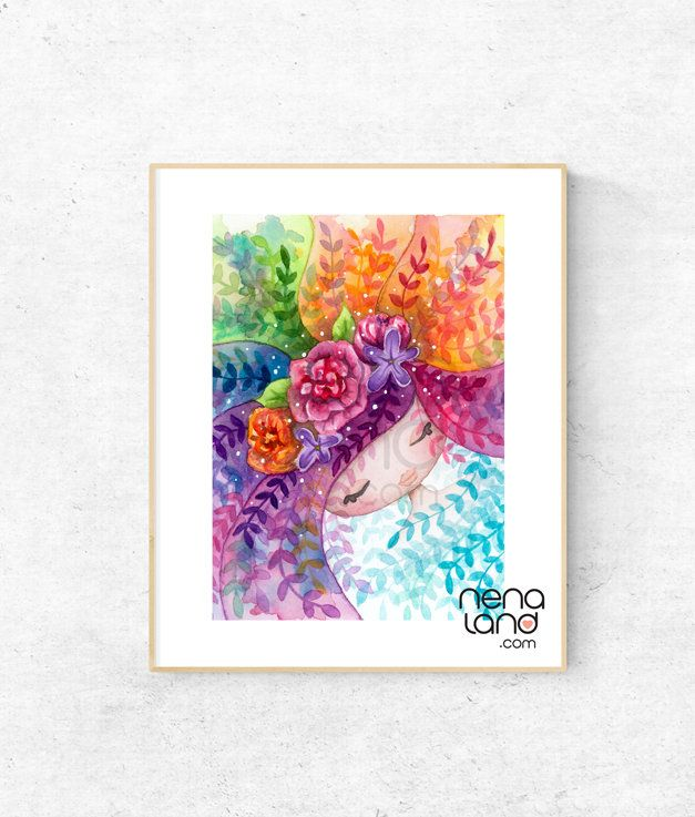 Rainbow girl, rainbow hair, flowery girl, art print from original watercolour