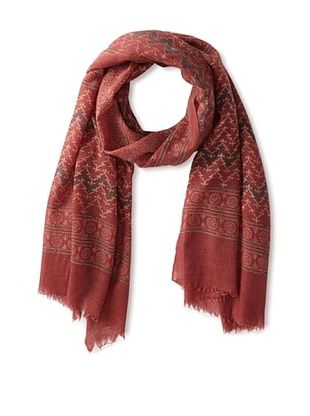 71% OFF MILA Trends Women's Hand Block Print Wool Scarf, Red/Black Multi