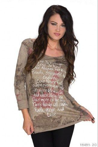 Φλοράλ μπλούζα με λαιμόκοψη - Καφέ