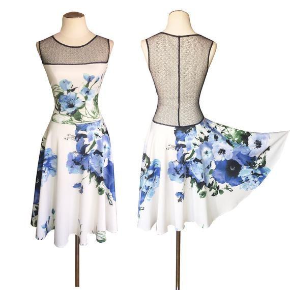 0bb949117b Blue hibiscus Argentine tango dress. Signature hour-glass back ...