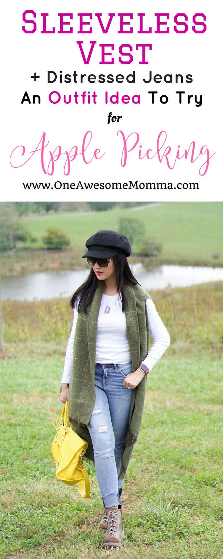 Going apple picking? Here's a cute apple picking outfit you must try. long sleeve tops, sleeveless vest, distressed jeans, laceup boots, newsboy hat, balenciaga city bag #falloutfit #fallstyle #applepicking | long sleeve top outfit | long sleeve tops fall | sleeveless vest fall | sleeveless vest outfit | sleeveless vest outfit fall | laceup boots outfit | newsboy hat outfit | casual fall outfits | fall fashion | street style fall | balenciaga bag | distressed jeans outfit
