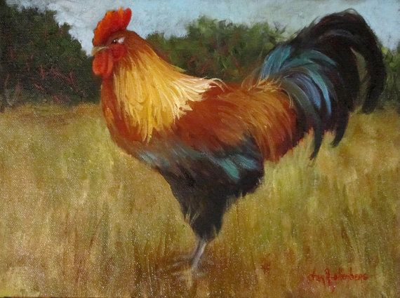 Original Oil Painting Colorful Rooster 9x12 Wrap Around ...