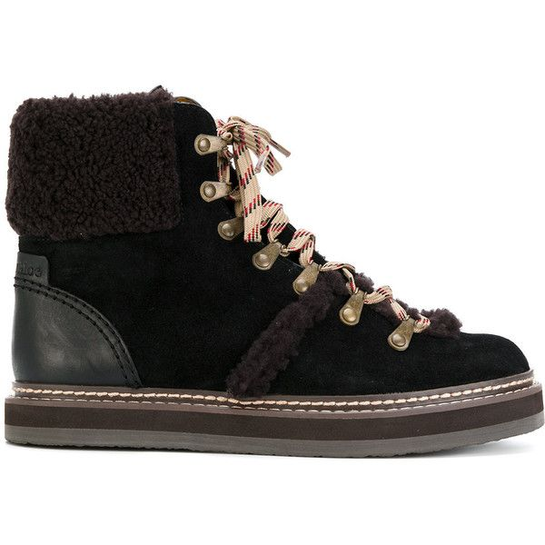 See By Chloé Eileen boots ($465) ❤ liked on Polyvore featuring shoes, boots, black, lace-up boots, laced up boots, black winter boots, leather boots and flat winter boots
