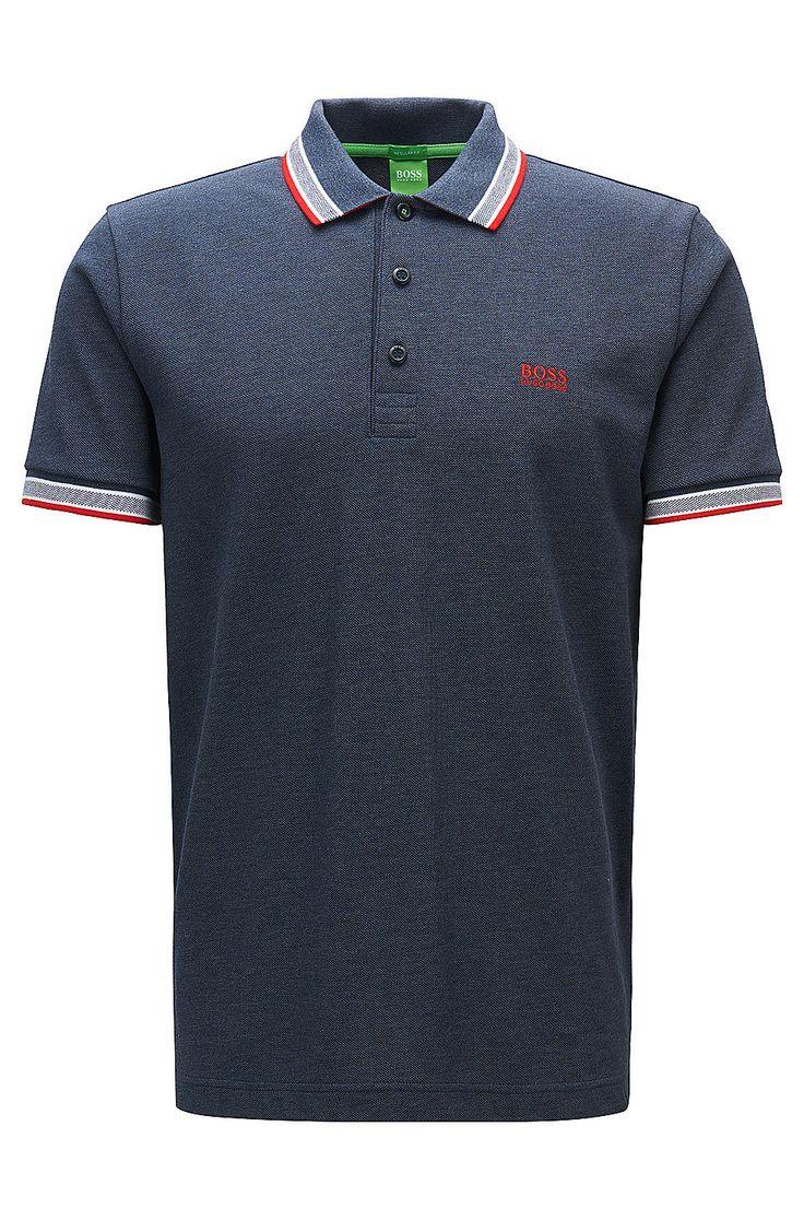 Regular-fit polo shirt in knitted piqué Dark Blue from BOSS Green for Men  for