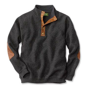 Wool Pullover Sweater / Boiled-Wool Snap-Front Pullover ...