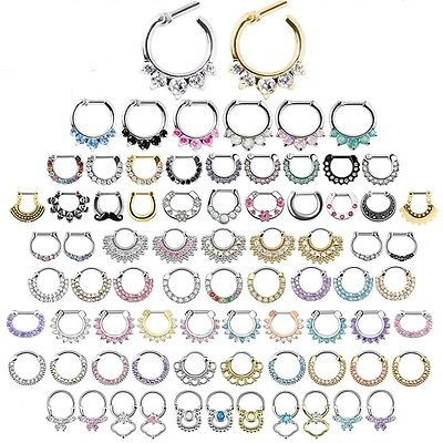 Gem Septum Ring - CZ Daith Ear Earring Nose Pierced Indian Clicker 150+ Designs