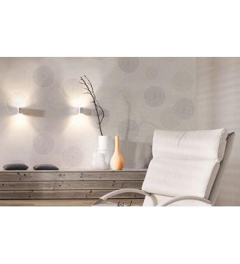 Papel pintado geométrico de círculos florados gris claro - 1140400