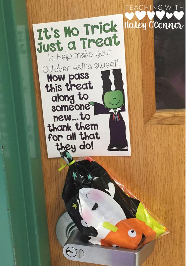 Halloween School Sunshine Idea. Great way to boost Teacher Morale.