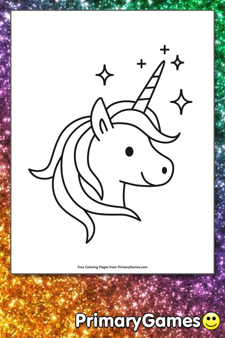 Sparkling Unicorn Coloring Page • FREE Printable eBook in