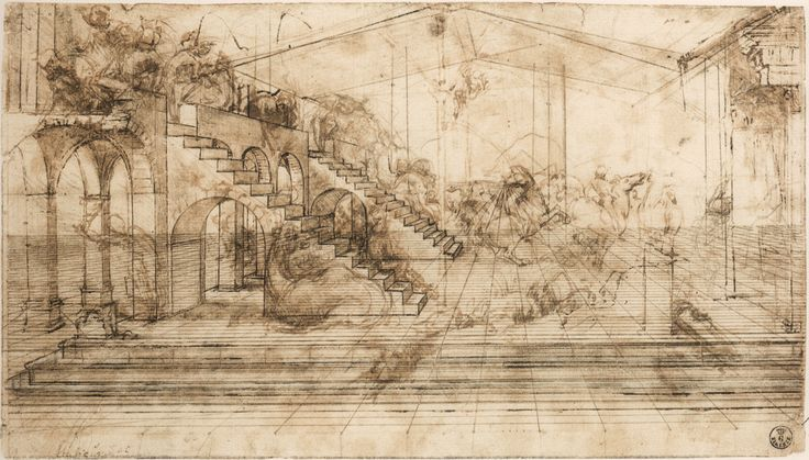 leonardo da vinci paintings | Leonardo da Vinci, Perspective Study for The Adoration of the Magi , c ...