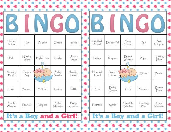 60 Baby Shower Bingo Cards - DIY Printable Party for Baby Boy and Girl ...