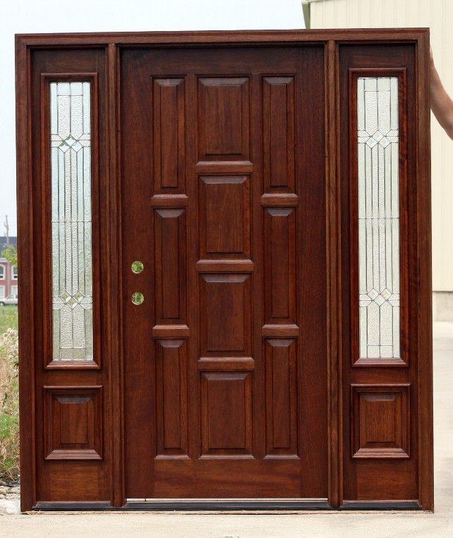 10 panel front door with sidelights, pre-finished.  #woodenfrontdoors #doorswithsidelightsthatopenlikeadoubledoor #exteriordoubleentrydoors #doubleexteriordoors